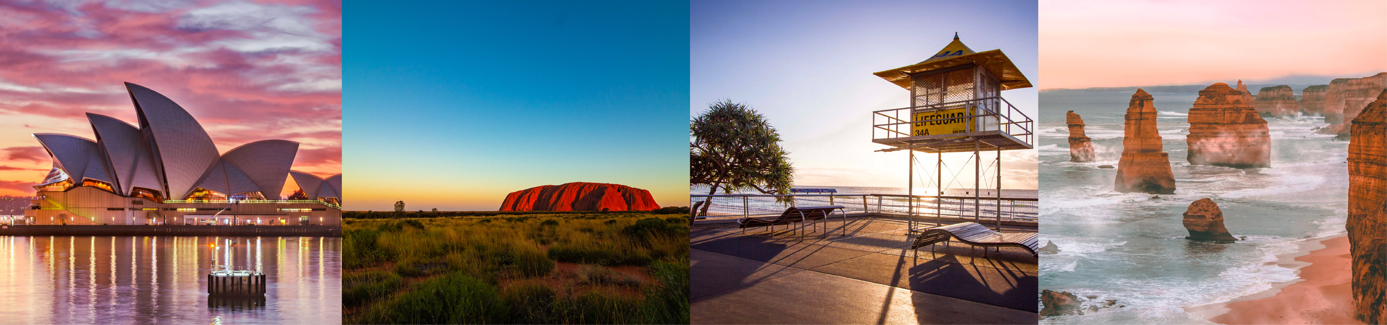 Iconic australian destinations: Sydney Opera House, Uluru, Gold Coast and the 12 Apostles